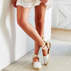 Soludos White Classic Leather Espadrille 9 sandal